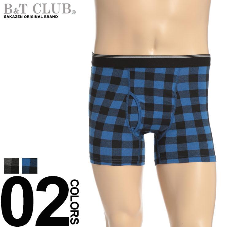 ボクサーパンツ 大きいサイズ メンズ 下着 前開き チェック柄 ダークグレー/ブルー 3L 4L 5L 6L B&T CLUB|大きいサイズメンズ洋服のサカゼン