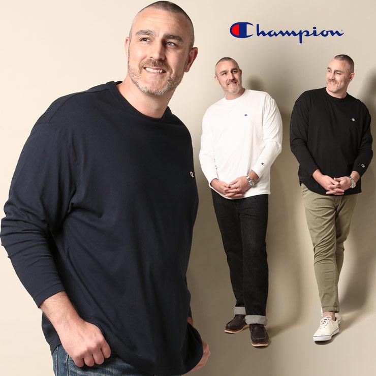 チャンピオン 長袖Tシャツ 大きいサイズ メンズ Champion 3L 4L 5L 綿100% ロゴ クルーネック ロンT メンズブランド 大きいサイズのサカゼン