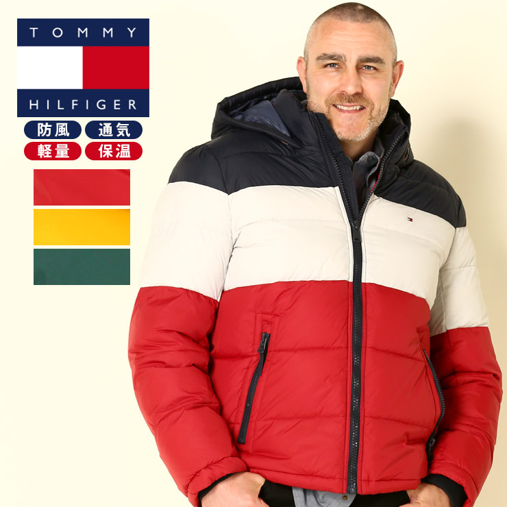 中綿 ジャケット 大きいサイズ メンズ 配色切り替え フルジップ ブルゾン パーカー トリコロール グリーン/イエロー/レッド 1XL-2XL TOMMY HILFIGER トミーヒルフィガー ジャケット 大きいサイズメンズのサカゼン