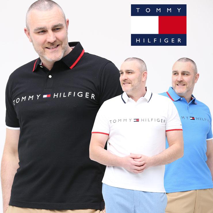 半袖 ポロシャツ 大きいサイズ メンズ ライン ロゴプリント ゴルフ コットン ホワイト/ブラック/ブルー 1XL-2XL TOMMY HILFIGER トミーヒルフィガー