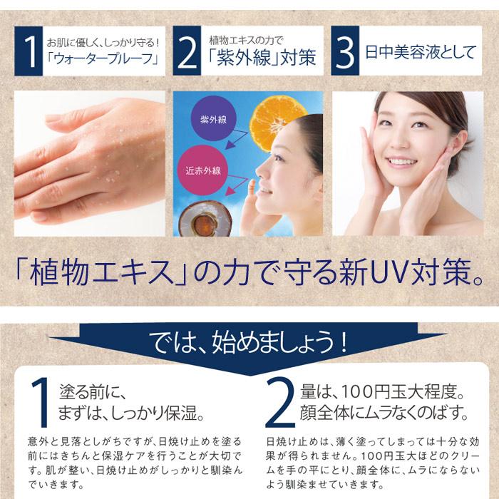 1、お肌に優しくしっかり守る。「ウォータープルーフ」2、植物エキスの力で「紫外線」対策。3、日中美容液として。「植物エキス」の力で守る新UV対策。では始めましょう。1、塗る前にまずはしっかり保湿。意外に見落としがちですが、日焼けどめを塗る前にきちんと保湿ケアを行うことが大切です。肌が整い、日焼け止めがしっかりとなじんでいきます。2、量は100円玉大程度。顔全体にムラなくのばす。日焼け止めは薄く塗ってしまっては十分な効果が得られません。100円玉大ほどのクリームを手にとり、顔全体にムラにならないよう馴染ませていきます。