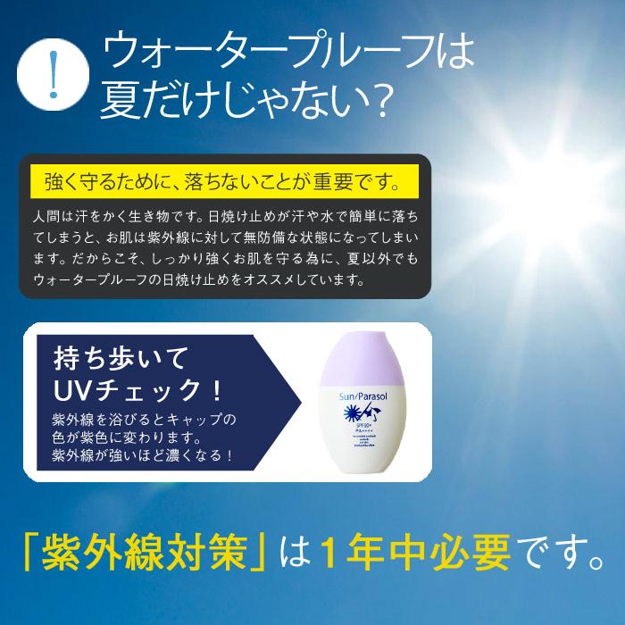 ウォータープルーフは夏だけじゃない。強く守るために、落ちないことが重要です。人間は汗を掻く生き物です。日焼け止めが汗や水で簡単に落ちてしまうと、お肌は紫外線に対して無防備な状態になってしまいます。だから、しっかり強くお肌を守る為に、夏以外でもウォータープルーフの日焼け止めをオススメしています。持ち歩いてUVチェック!紫外線を浴びるとキャップの色が紫色に変わります。紫外線が強いほど濃くなります。紫外線対策は1年中必要です。