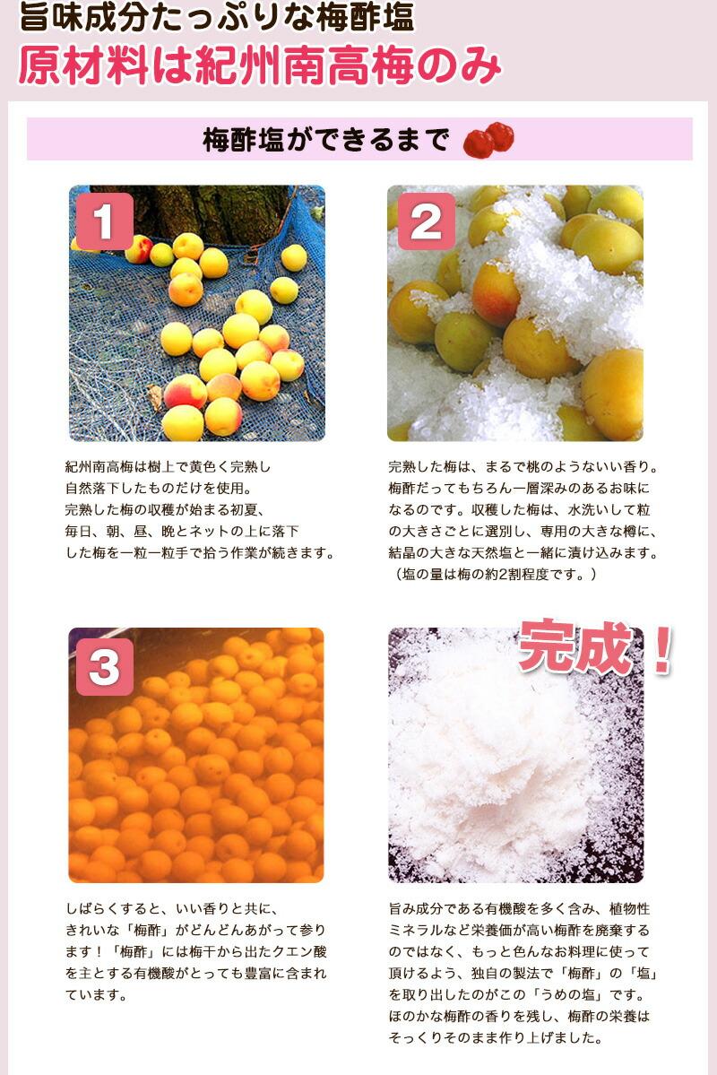 梅塩の原材料は南高梅のみ。