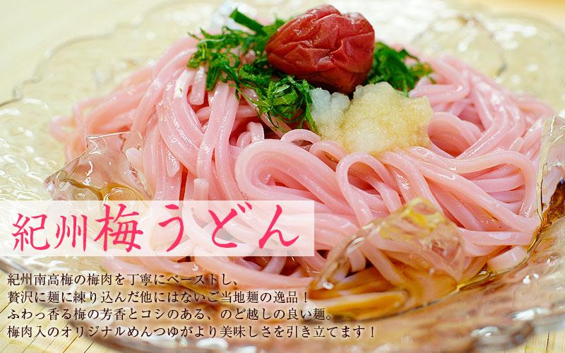 紀州梅うどん!日本テレビ「ヒルナンデス!」「ミヤネ屋」等様々なメディアでも紹介!南高梅の梅肉を独自の製法で麺に練り込んだ香り良くコシのある、のどごしの良いご当地うどんです。