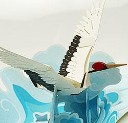 ポップアップカード 飛び立つ鶴