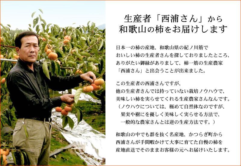 生産者西浦さんから和歌山の柿をお届けします