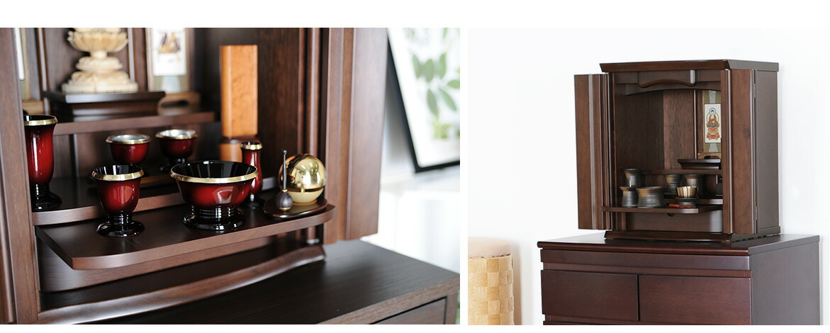 クルミ材の木目が美しい国産仏壇