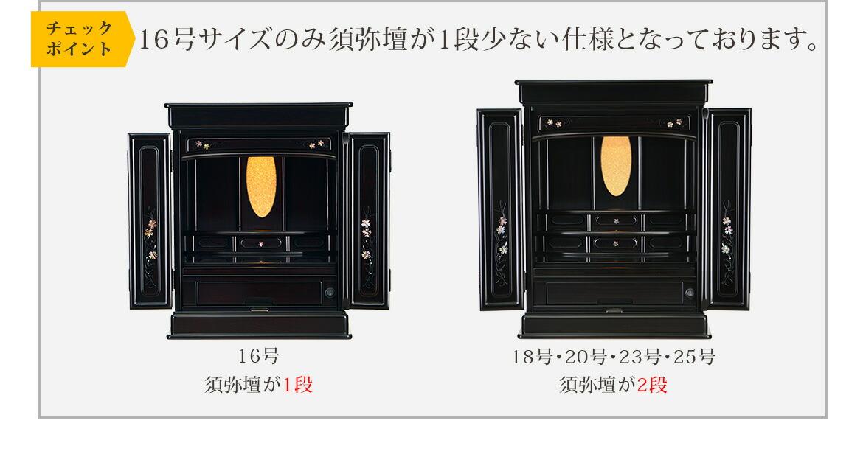 チェックポイント 16号サイズのみ須弥壇が1段少ない仕様となっております。