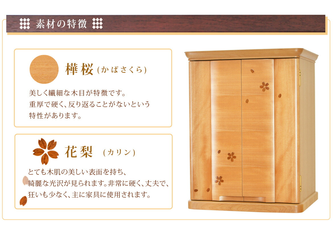 素材の説明 樺桜・花梨