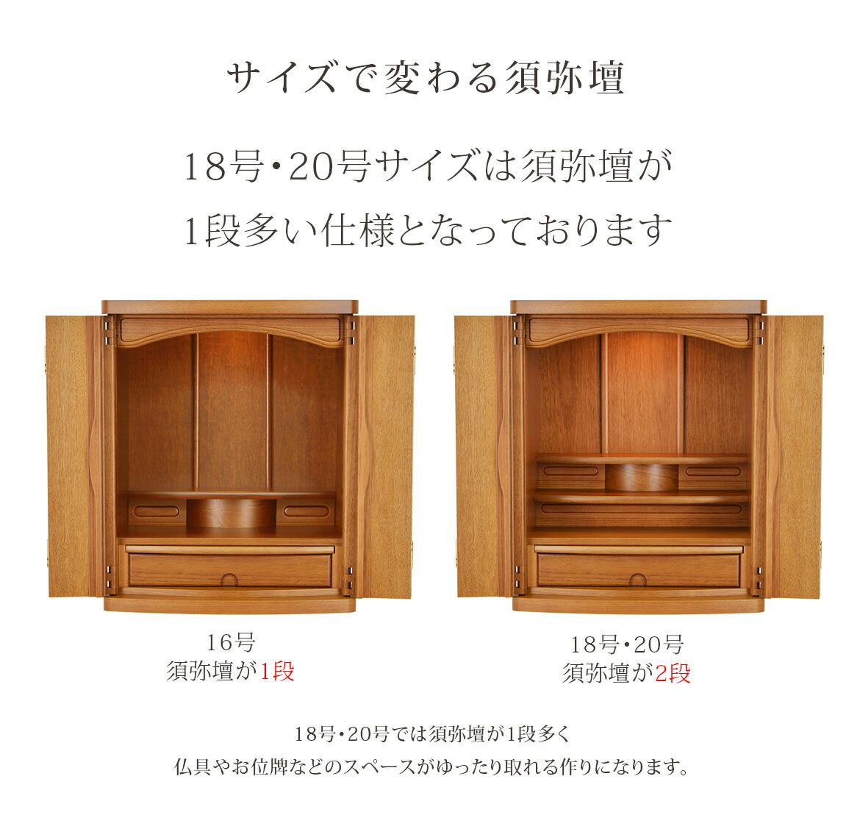 18号・20号サイズは須弥壇が1段多い仕様となっております