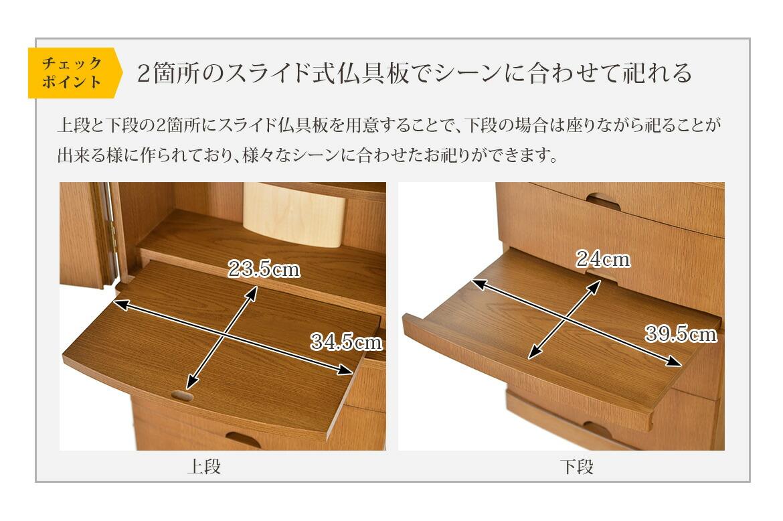 チェックポイント 2箇所のスライド式仏具板でシーンに合わせて祀れる