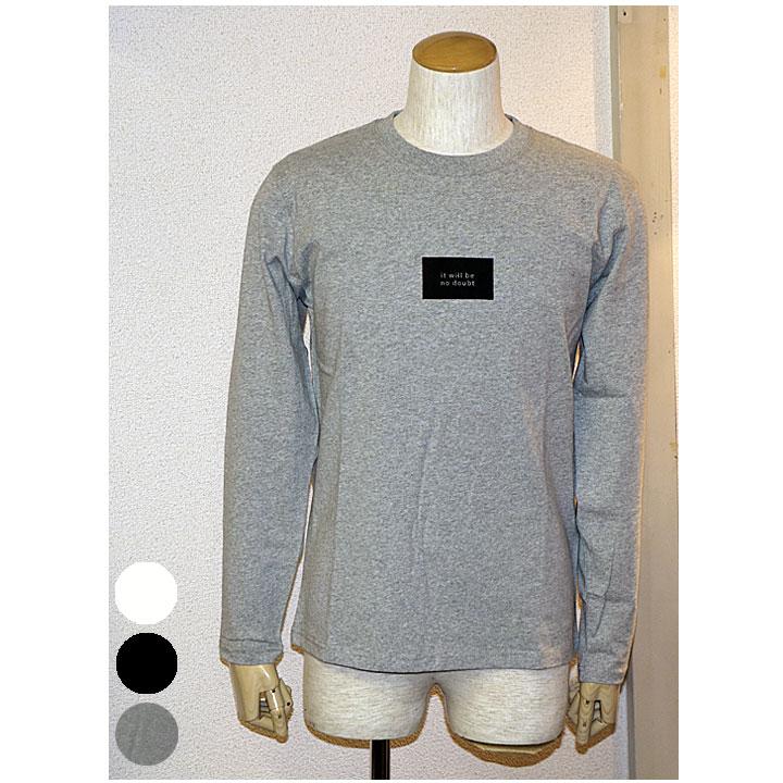 Trap/u(トラップユー)天竺袖プリントクルーネックロンT長袖カットソー 3色ブラック ホワイト グレー