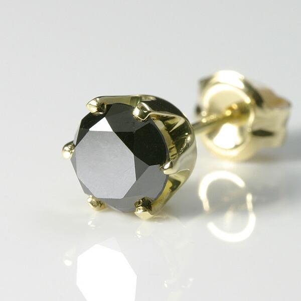 K18ゴールド ブラックダイヤ メンズピアス