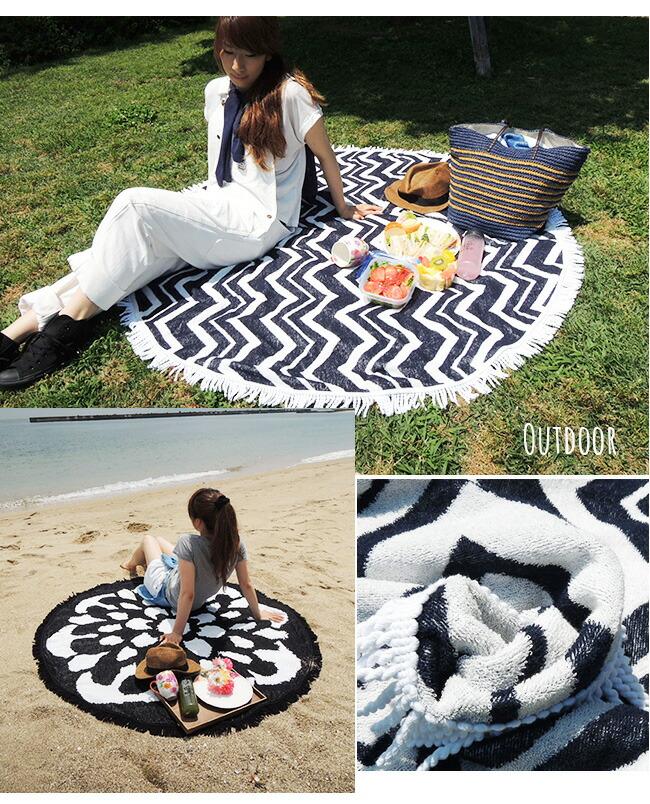 ビーチ・ピクニック・お部屋にも使える!今話題のラウンドビーチタオル
