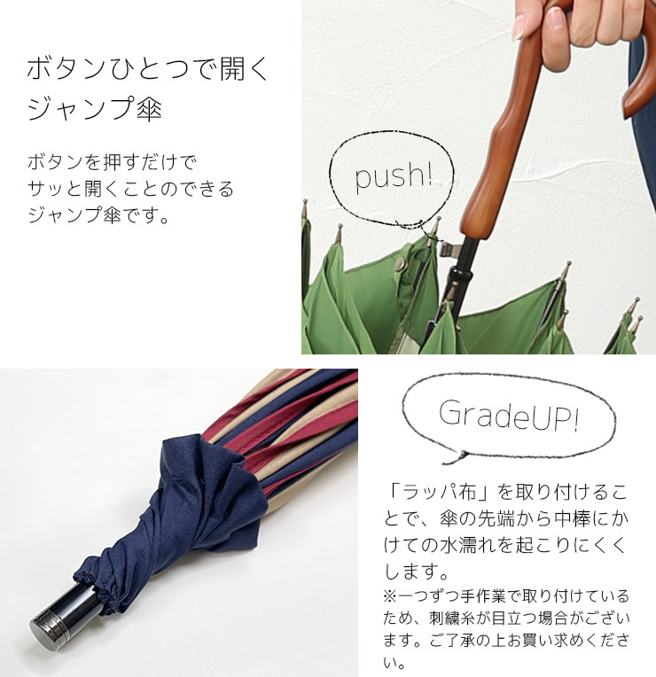 ボタンひとつで開くジャンプ傘
