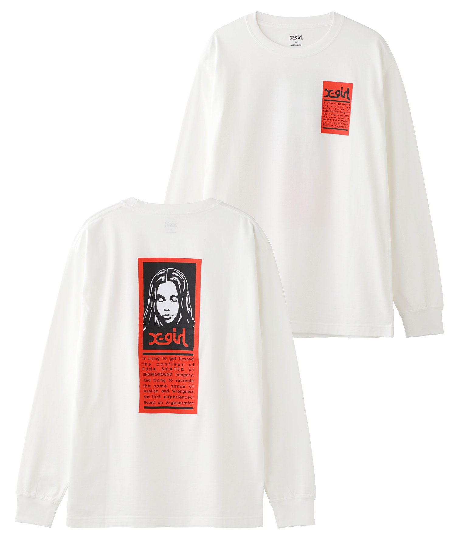 X-girl(エックスガール)通販|WORDS FACE L/S TEE(ホワイト)