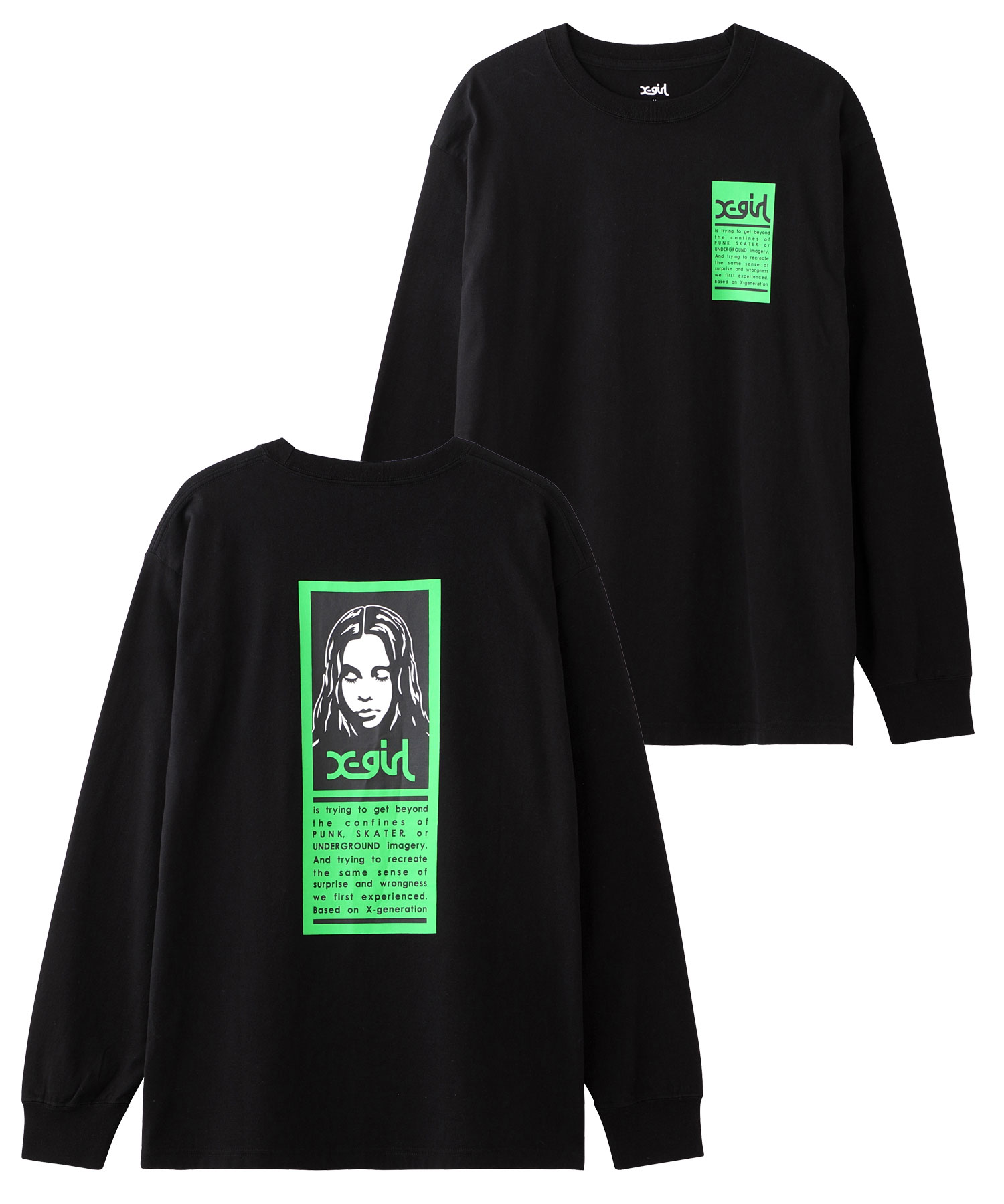 X-girl(エックスガール)通販|WORDS FACE L/S TEE(ブラック)