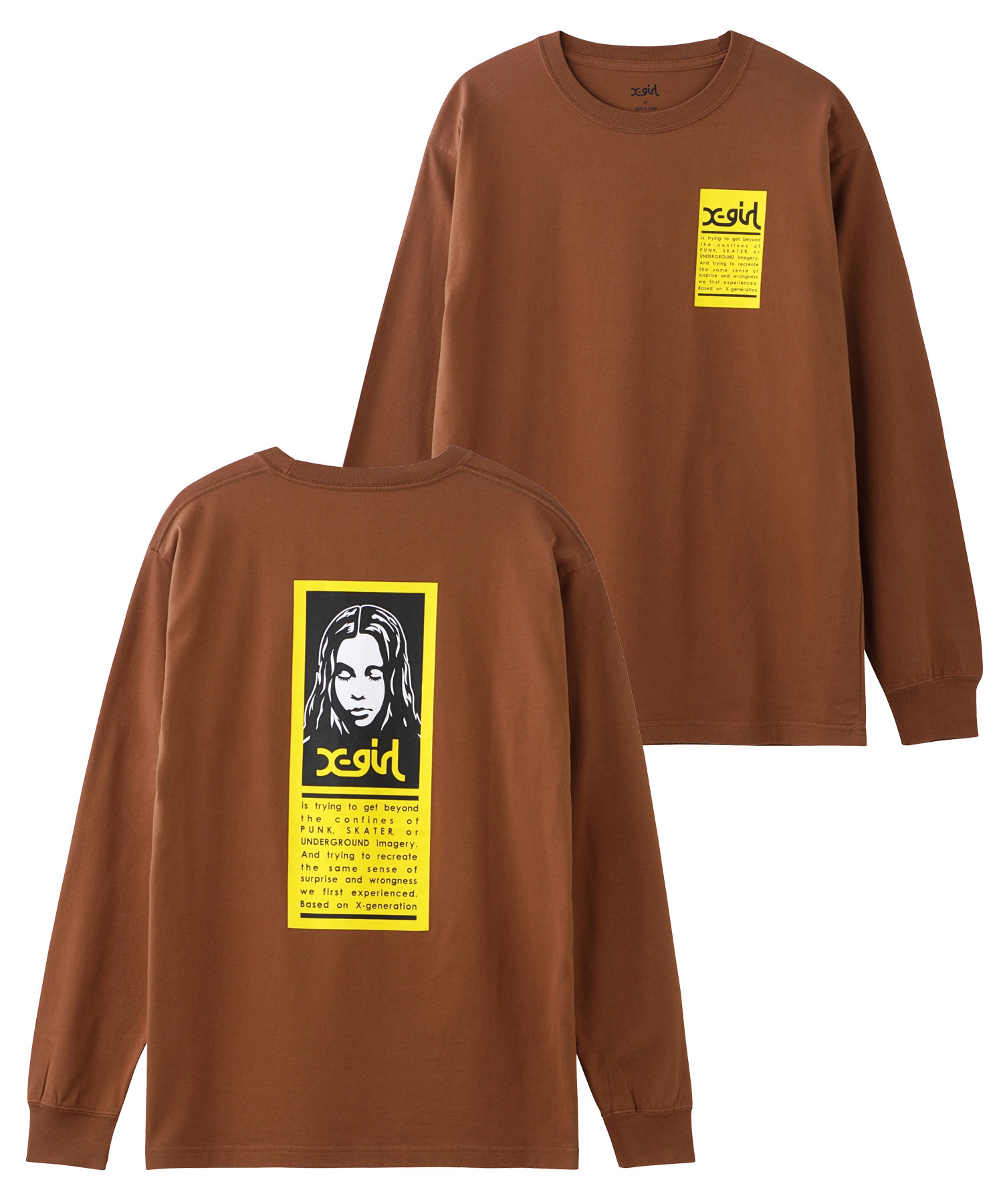 X-girl(エックスガール)通販|WORDS FACE L/S TEE(ブラウン)