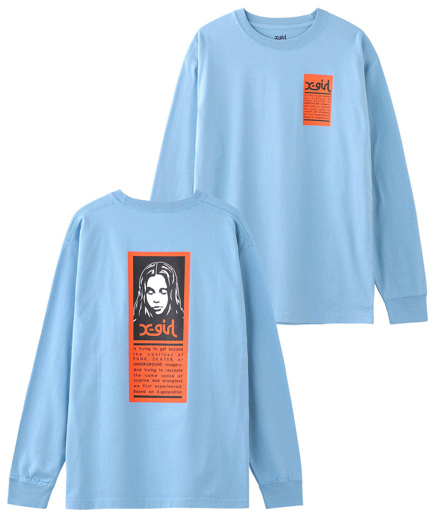 X-girl(エックスガール)通販|WORDS FACE L/S TEE(ライトブルー)