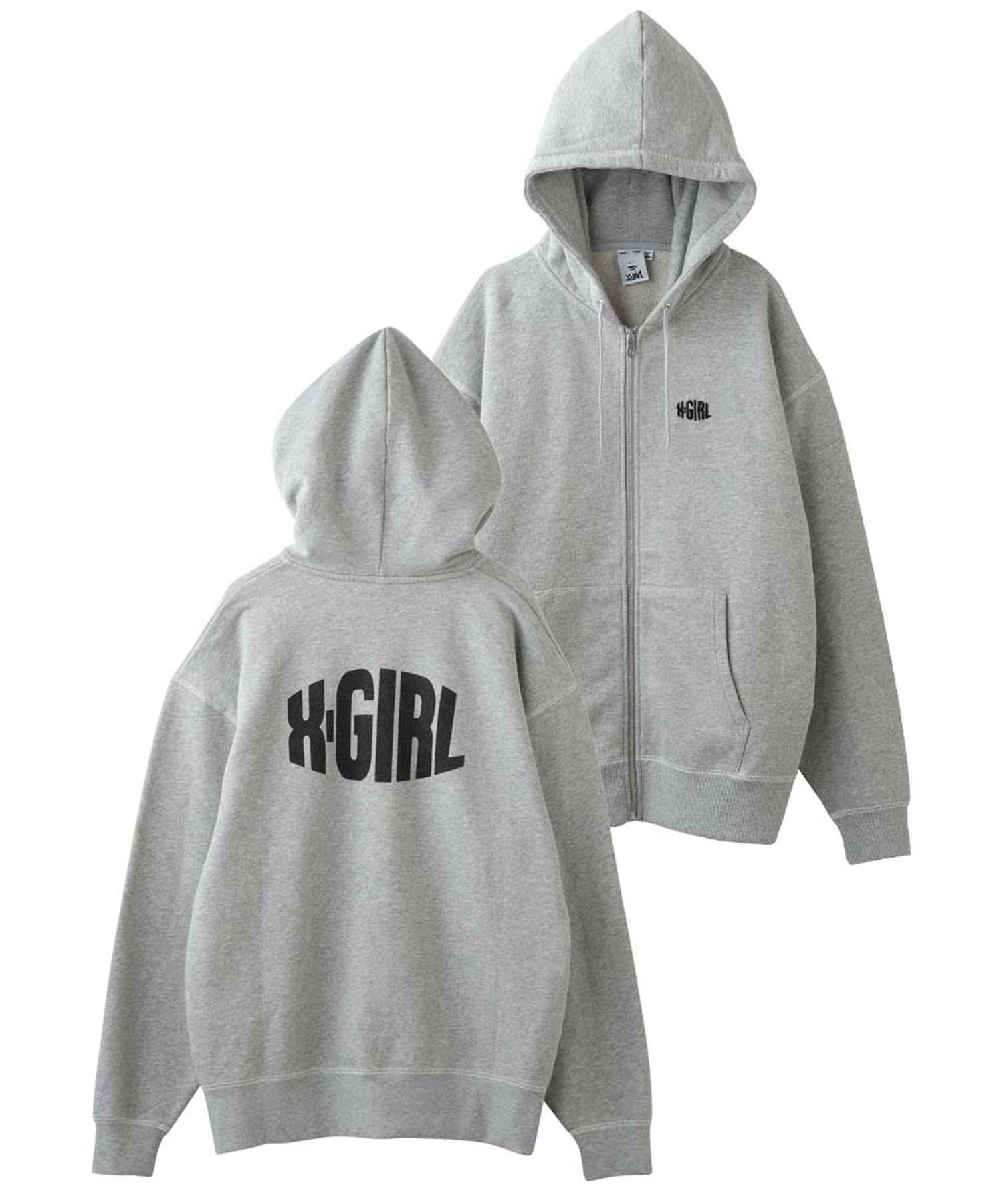 XGL01(エックスガール)通販 CURVED LOGO ZIP UP SWEAT HOODIE (アッシュ)