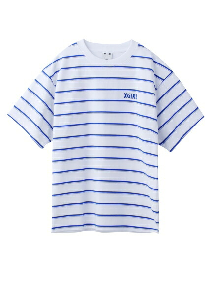 X-girl(エックスガール)通販|STRIPED PIQUE S/S TOP(ホワイト)