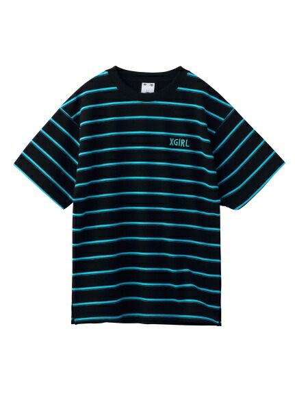 X-girl(エックスガール)通販|STRIPED PIQUE S/S TOP(ブラック)