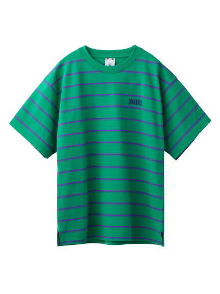 X-girl(エックスガール)通販|STRIPED PIQUE S/S TOP(グリーン)