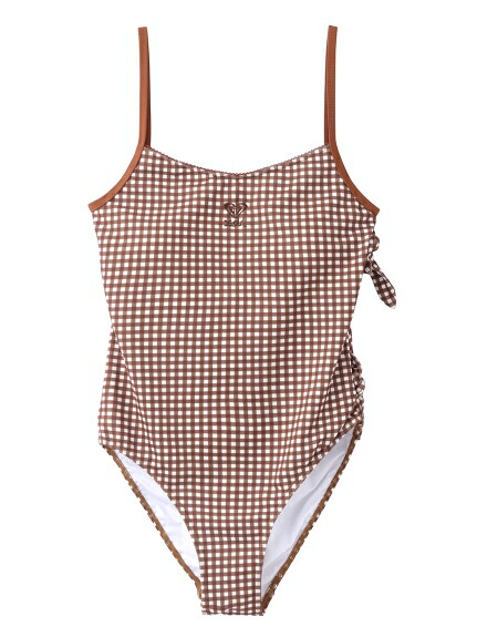 X-girl(エックスガール)通販 X-girl × ROXY GINGHAM PLAID ONE-PIECE SWIMSUIT(ブラウン)