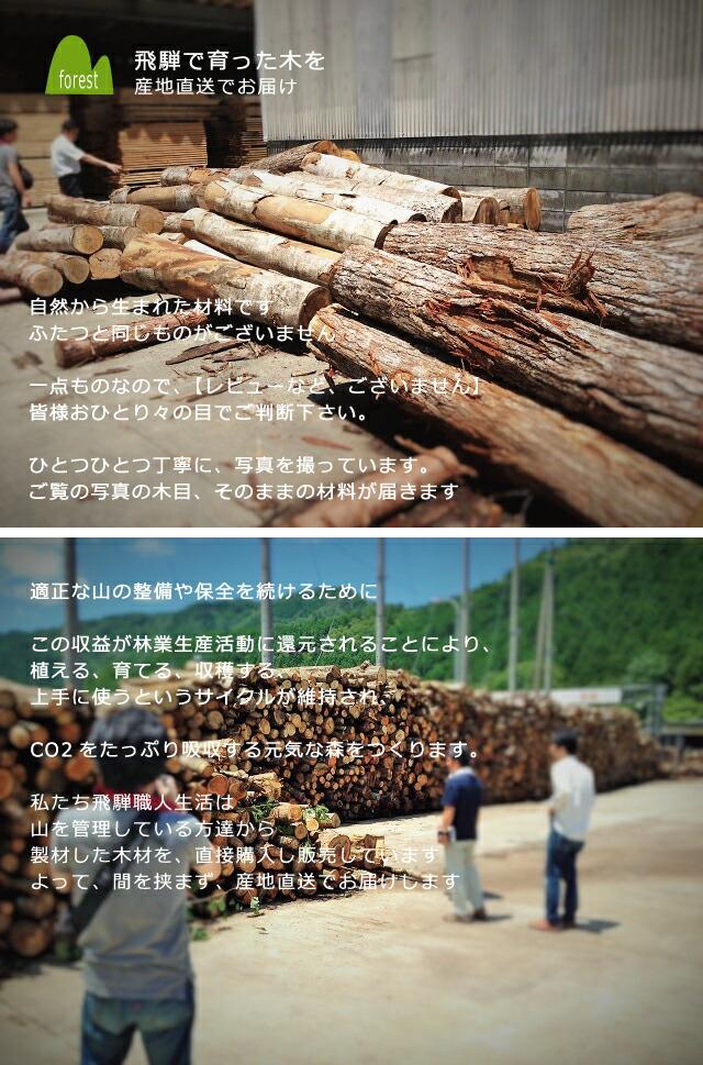 飛騨で育った木を産地直送でお届けします