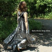 バックリボンストラップドレス