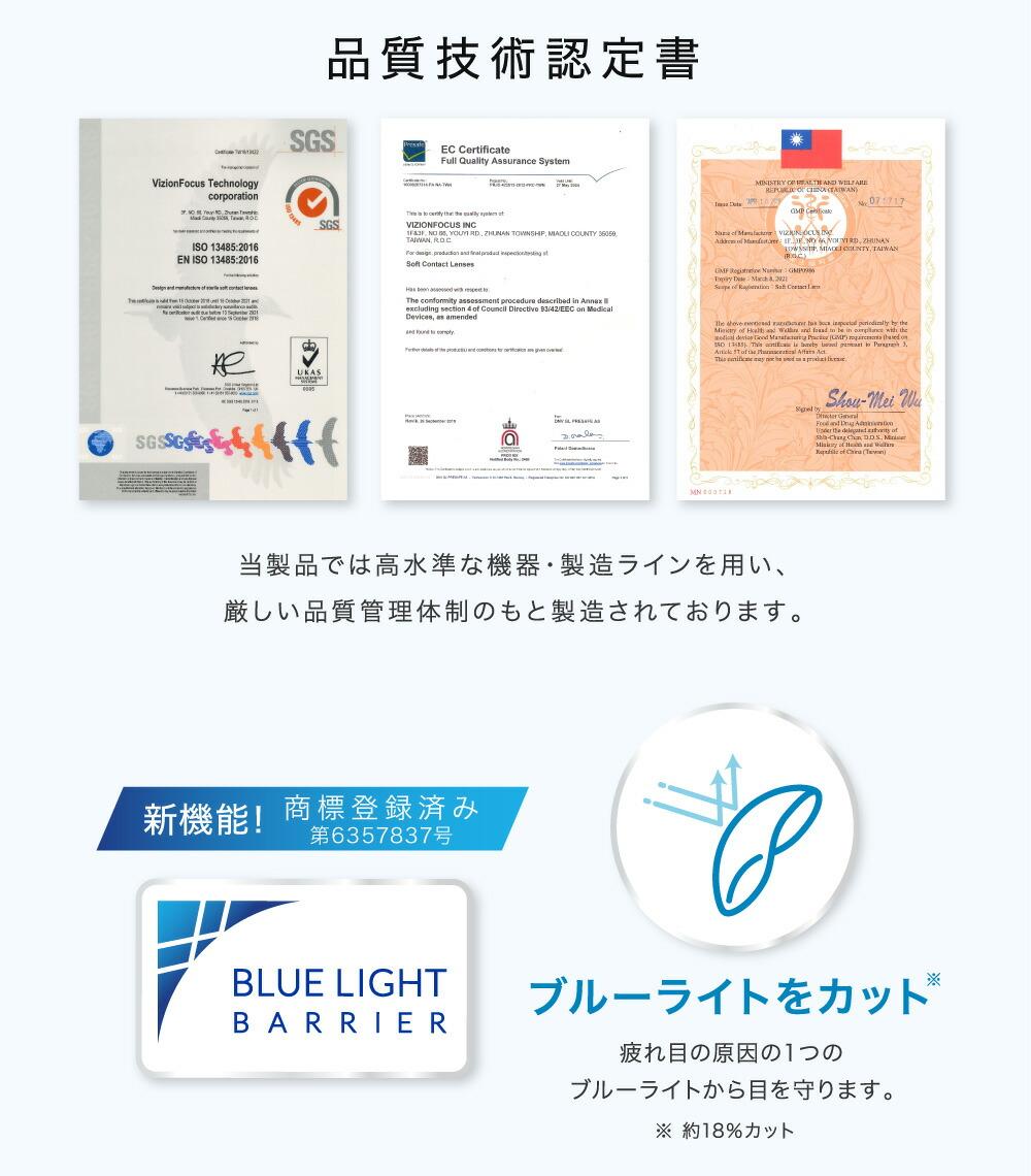 品質技術認定書 ブルーライトをカット