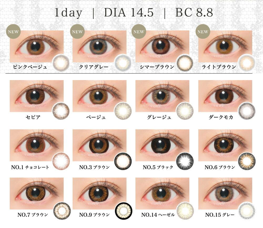 1day DIA14.5 BC8.8 レンズ一覧