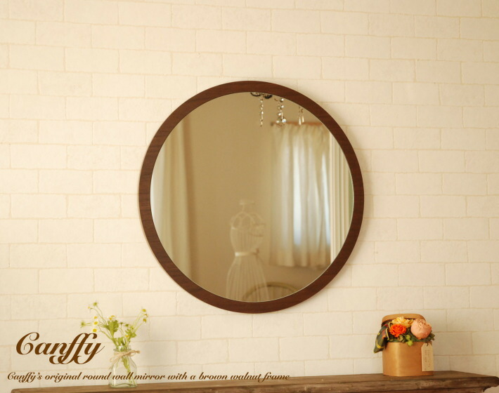 Is The Emergence Of Very Flat Round Wall Mirror Walnut Wood Veneer Frame Finished In Surface Stood Out Distinctly Warm