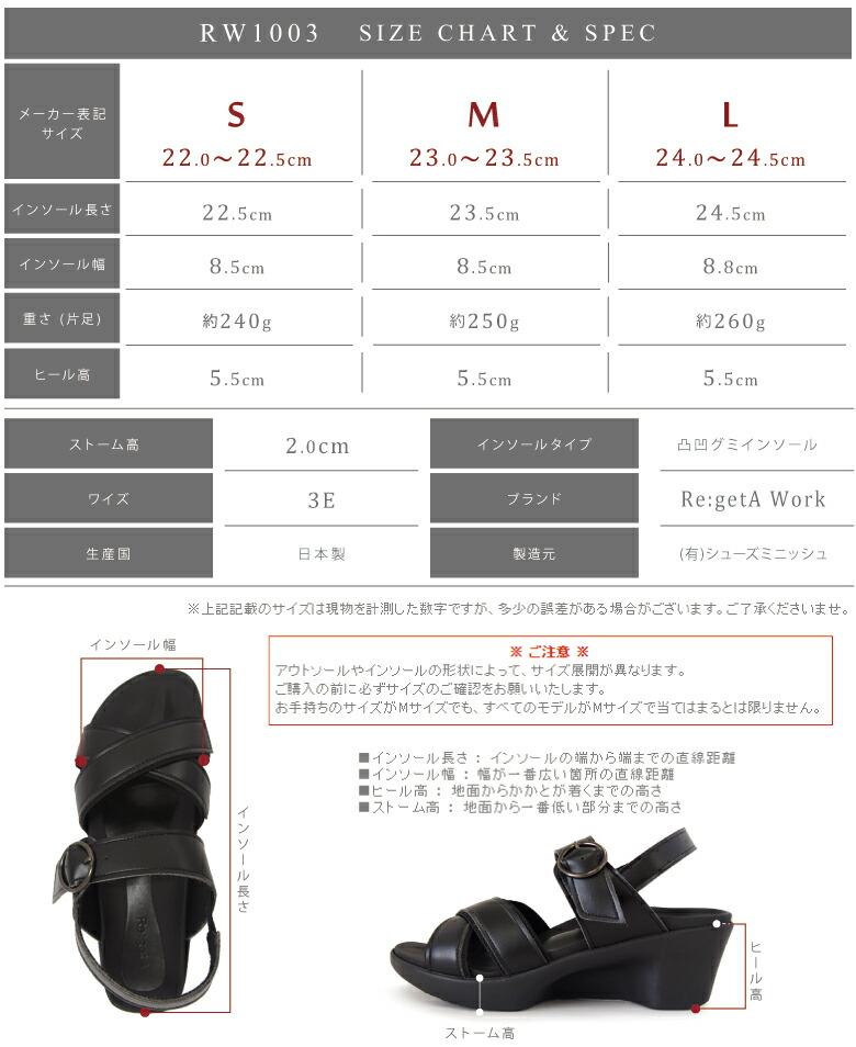 RW1003/サイズ表