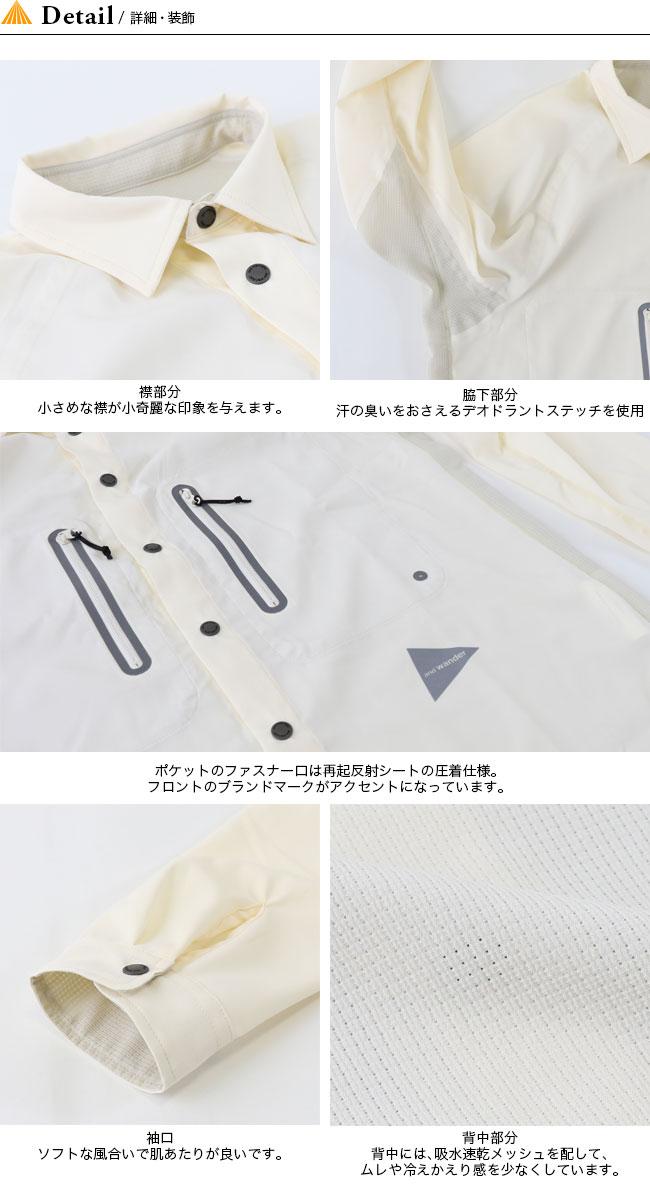 ■ブランド:and wander(アンドワンダー)■商品名:tech long sleeve shirt Menst  テックロングスリーブシャツ■型番:AW-FT994■カラー:1.ブラック 2.オフホワイト■素材: ポリエステル 100% 裏ポリエステル 100%■重量:210g■サイズ:size3 : 着丈74.5cm B109cm 裄丈85cmsize4 : 着丈77cm B113cm 裄丈87.5cm