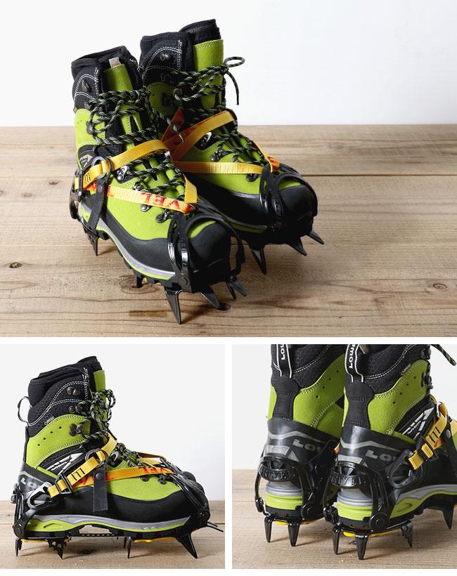 フロントハーネスの取付け位置が外側なので、スノボ用ソフトブーツやテレマークスキー靴など、幅広の靴に合わせられます。柔軟性のあるフレック スメタルプレート付き。