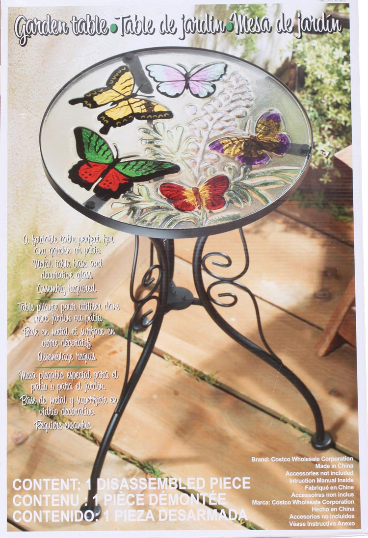 Elegant  Table Material: Glass, Metal [COSTCO Costco: Tables For Garden Butterfly  Pattern Is A Table For Dining, Living, Garden With Flowers Cute Trendy  Butterfly ...