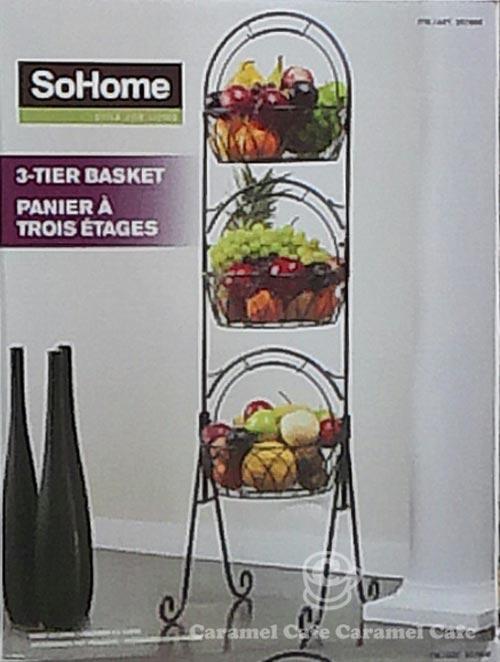 Size: 37cmx34cmx127cm [At Costco:SoHomeTIER BASKET PANIER A TROIS  ETAGESWith A Three Basket Storage BasketsIn The Kitchen Or Bathroom A Big  Success!