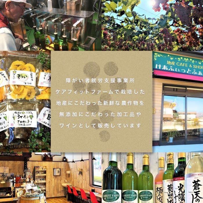 地産にこだわった新鮮な農作物を無添加にこだわった加工品やワインとして販売しています