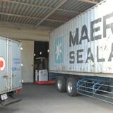 全長12mの海上コンテナーで入荷します、一週間に2〜3回入荷することも