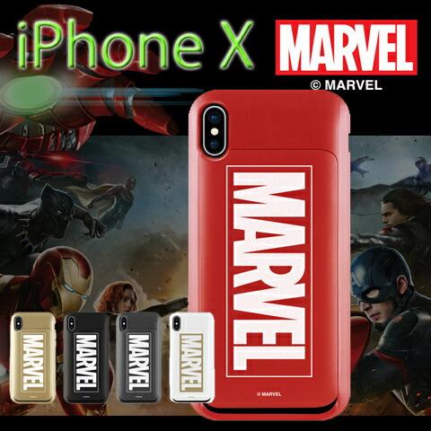 MARVEL iPhone X  i-Slide エラー防止シート内蔵 スライドカード