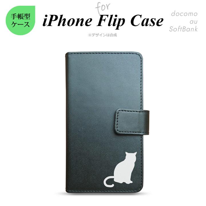 iPhone シリーズ レザー 手帳型 iPhone6 iPhone5/5s iPhone5c スマホケース アイフォン 主要機種対応 猫C ブラック nk-015-ip-p182