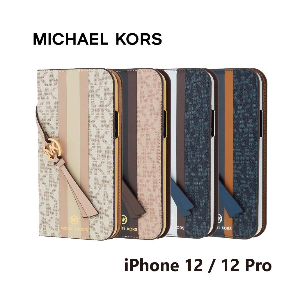 MICHAEL KORS iPhone12 iPhone12Pro 手帳型ケース ストラップ カード収納 3枚 Folio Case Stripe with Tassel Charm