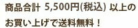 商品合計5400円以上のお買い上げで送料無料!