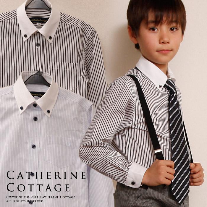 dd6f7091f78e7 楽天市場 入学式 男の子 スーツ ボーイズ ストライプ クレリックシャツ ...