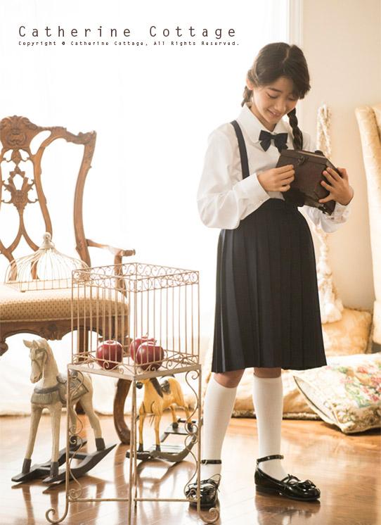 子ども フォーマル スカート クラシックサスペンダースカート 紺 プリーツ ジュニア キッズ