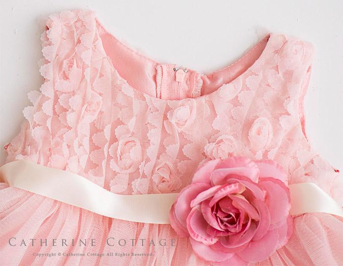 バラとチュールのベビードレス 80 90 95cmピンク ホワイト レッド 結婚式 発表会 七五三