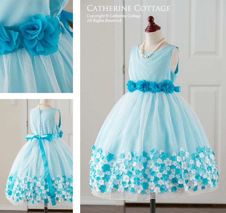 子どもドレス 子供服 キッズ フォーマル 発表会 結婚式 春 通販 人気 キャサリンコテージ ブルー 水色 青