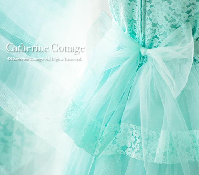 お花レースと三段チュールフリルのふんわりプリンセスドレス  背中のおおきなチュールリボン