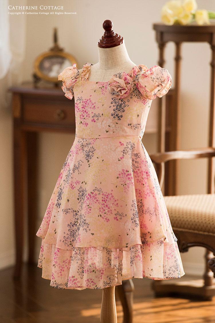 95e31bc35a817 訳ありアウトレット 花柄シフォンシャーリング袖ドレス 子供ドレス キッズドレス こども 発表会
